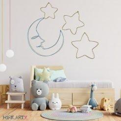 ירח עם כוכבים 4 חלקים נפרדים בצבעים כחול וצהוב