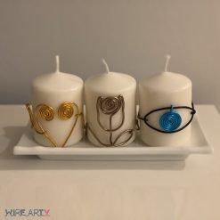 סט 3 נרות מקושטים בפסלים עשויים מחוטי מתכת: עין למזל וברכה, ורד ולב