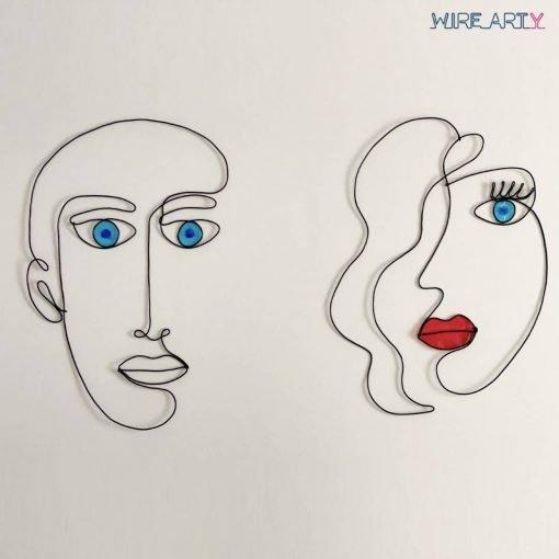 סט ״גבר ואישה בסטייל״ - 2 חלקים - צבעים: שחור בשילוב אדום ותכלת